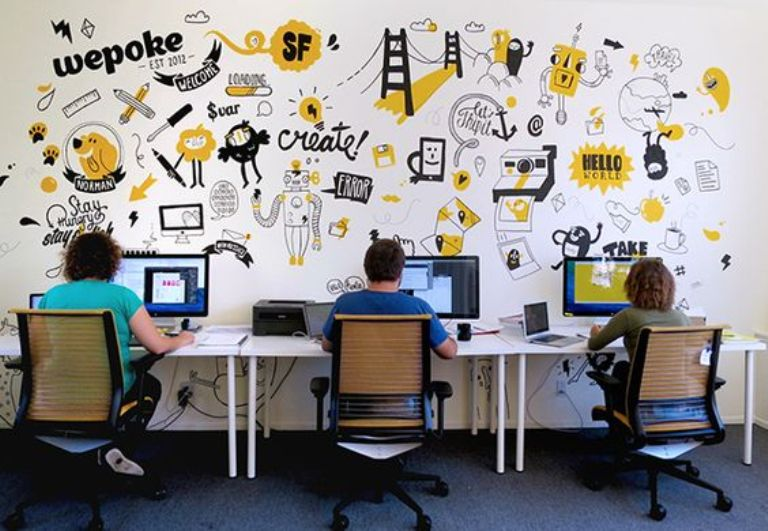 Wallpaper Dinding Sebagai Desain Ruang Kantor yang Santai Untuk Menghindari Kebosanan